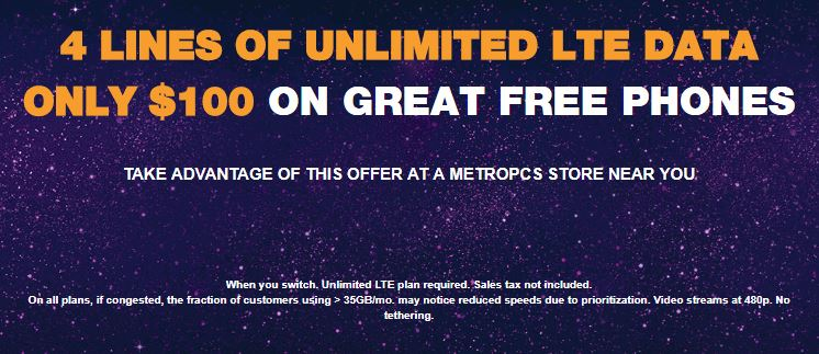 MetroPCS Brings Back 4 Lines Of Unlimited Data For $100