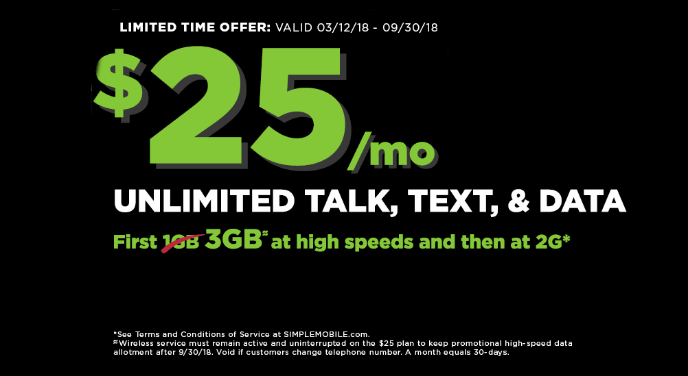 For A Limited Time Simple Mobile is Offering 3GB Of Data For