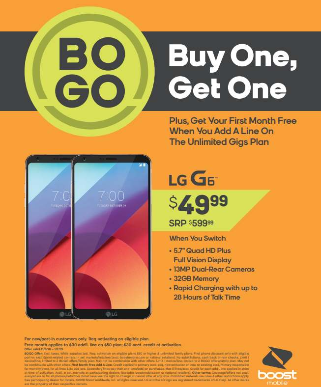 Boost Mobile Offering LG G6 $49 99 BOGO, Free Galaxy J7