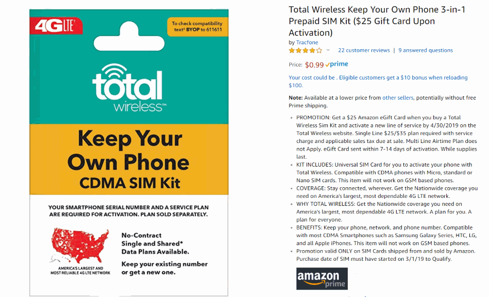 Tracfone SIMS Like Total Wireless Are 99c From Amazon, Get